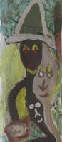 Wayacón (Julián Espinosa)  #5685. Untitled, N.D. Acrylic on paper. 19.5 x 7 inches.