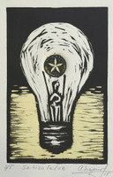"Chapur (Susana Soria Chapur) #6172. ""Se hizo la luz,"" 2015. Collagraph print edition 2 of 5. 9.75 x 7 inches. SOLD!"
