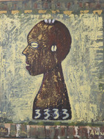 "Alazo - Alejandro Lazo #2293. ""3333,"" 2000. Oil on canvas. 19.5 x 17.25 inches. SOLD!"