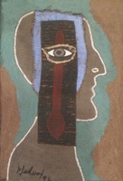 "Mederox (José Mederos Sigler) #4901 Untitled, 1996. Mixed media/ ashalt on cardboard. 20"" x 13.5."""