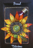 "Brito (Jacqueline Brito Jorge) #6769. ""Girasol/Veleidosa,"" From the series: ""Ikebana,"" 2007. Mixed media/oil on canvas. 9.25 x 6.5 inches."