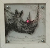 William Perez (SL) NFS>> Dedicated to Sandra Levinson, 2009. Mixed media/wood, plexiglass and LED. 7 x 7 x 5 inches.