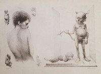 Fabelo (Roberto Fabelo)  #429 (SL) Untitled, 1986.  Lithograph print edition 6 of 14. 13.5 x 29 inches.