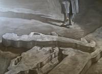 """Ruben Fuentes Gonzalez #3555 (SL) """"Sombras que se nutren,"""" 2004. Work on paper 22 x 30 inches"""