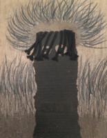 "Mederox (José Mederos Sigler) #1989. ""Pataban Simple,""1998. Mixed media on cardboard/asphault. 23.5"" x 19."""