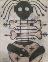 "Mederox (José Mederos Sigler) #1981. ""Simbolo Africano,"" 1999. Mixed media on cardboard. 27.5"" x 19.5."""