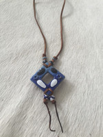 Ceramic Pendant Necklace in Blue #19