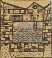 Brito (Yamilys Brito Jorge) #9026. Untitled, 2015. Print with gold leaf, 4.5 x 4 Inches
