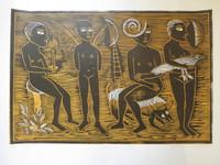 "Montebravo (José Garcia Montebravo) #8082. ""Nocturino"" 2007. Linoleum print artist proof, 17.5 x 22.5 inches"