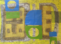 Mederox (José Mederos Sigler)  #8074. Untitled, 2014. Mixed media collage, ink and acrylic on cardboard, 13.5 x 19.5 inches.