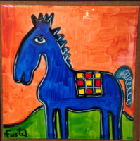 Fuster (José Rodríguez Fuster) #8014 (SL). Untitled, 2014. Acrylic on ceramic tile, 8 x 8 inches.  SOLD!