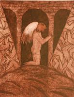"""Càceres (Rafael Angel Càceres Valladares) #2269. """"Sabado en el paraiso,"""" 1999. Monotype, 1/1.   17.25 x 13.5 Inches."""
