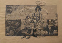 "Carlos Cárdenas #355 (SL) ""La siempre Fidelisima,"" 1987. Mixed media on brown paper. 9 x 13 inches."