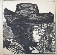 "Nelson Dominguez  #359. ""Cabeza de joven con sombrero,""1974. Woodcut print. 21"" x 20.5"""