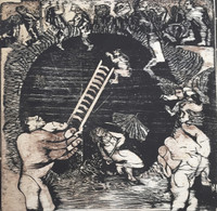 "Nelson Dominguez #361. ""Danza solar,"" 1973. Woodcut print. 21"" x 19.5"""