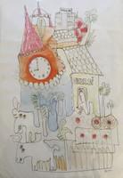 """Fuster (José Rodríguez Fuster) #382. """"Cuba Si."""" N.D. Watercolor on paper. 22 x 14 inches."""
