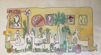 "Fuster (José Rodríguez Fuster) #393. ""Playa,"" 1990. watercolor on paper. 12 x 22.5 inches. SOLD"