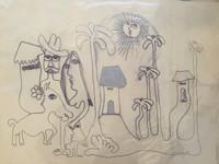 "Fuster (José Rodríguez Fuster) #394. ""Cuba si,"" 1988. Ink on paper. 14.5 x 20 inches."