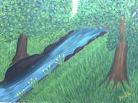 """Daisy Lazcano #444. """"Rio abajo,"""" 1991. Oil on paper. 13 x 17.5 inches."""
