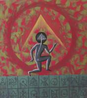 """Besmar (Joel Rogelio Besmar Nieves) #474  (SL) NFS>> """"El danzarin de la montana sagrada,"""" 1995. Oil and pastel on paper. 17.75 x 19.75 inches."""