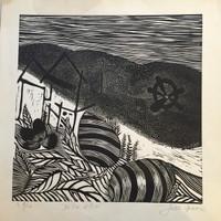 """Jose Omar Torres #518. """"De los sitios,"""" N.D. Linoleum print edition 4 of 10. 15 x 14.5 inches."""
