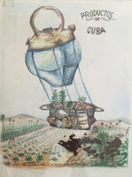 """Alejandro Lopez Bastide #1467. """"Productos de Cuba,"""" 1998. Watercolor, ink, tobacco collage. 18""""x14"""""""