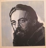"Luis Miguel Valdés #612. ""Camilo,"" 1975. Wood cut print edition 20/20.    24 x 22 inches."