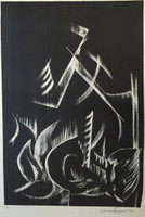 Jose Omar Torres #632. Untitled N.D. Lithigraph print.  29 x 20 inches.