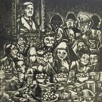 """Crespo-Manzano (Joaquin Crespo-Manzano) #542. """"Convite de los momios,"""" 1974. Linoleum print 4/10.   26 x 17 inches."""