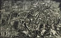 """Crespo-Manzano (Joaquin Crespo-Manzano) #541 """"Apacolipsi Chileno,"""" 1978. Wood cut print 3/10.   17 x 26 inches."""