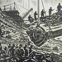 """Crespo-Manzano (Joaquin Crespo-Manzano) #520. """"Bajo la junta,"""" 1974. Linoleum print 7/10.    26 x 17 inches."""