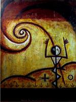 """Alazo - Alejandro Lazo #2705. """"Mira la cagazon que armastes,"""" 2000. Oil on canvas. 35 x 28 inches."""
