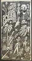"Isabel De Las Mercedes #2754. ""Finca el pinto,"" 1992. Pen and ink on cardboard. 17 x 8.75 inches."