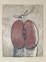 """Lester Campa #2830 (SL) """"Los tengo,"""" 1989. Woodblock print. 12 x 10.5 inches"""