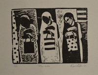 "karina Ortiz Bermudez #5838 (SL) NFS>> ""Plan jaba,"" 2009. Woodblock print edition 6 of 12. 11.75 x 15 inches."