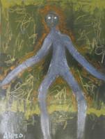 "Alazo - Alejandro Lazo #5086 (SL) ""Aparicion,"" N.D. Acrylic on cardstock. 12 x 9 inches."