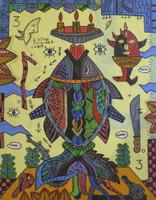 "Vilva (Elio Vilva-Trujillo) #5084. ""De la serie: peces para los Orishas, pez, para Eleggua,"" N.D. Mixed media on paper. 7.5 x 9.5 inches."