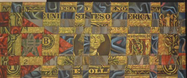 "Adrian Rumbaut. 1995. Mixed media on canvas. 18"" x 43""."
