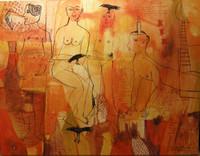 """Montebravo (José Garcia Montebravo) #5057. """"Lo Cubano tiene Ashe,"""" 2009. Acrylic on canvas. 44 x 57 inches."""