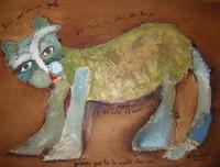 "Sandra Dooley #5107. ""Habia una vez un gato,"" 2006. Mixed media on canvas. 11 x 14.5 inches."