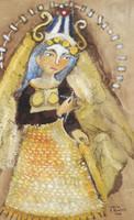 """Sandra Dooley #5141. """"Cachi,"""" MMX. Mixed media on canvas.16 x 10.75 inches."""