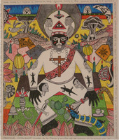 "Vilva (Elio Vilva-Trujillo) #5255. ""Obatala,"" 2000. Mixed media on paper. 19.75 x 17 inches."