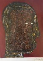 "33 Choco (Eduardo Roca Salazar), ""Rostro,"" 2013. Collagraph, II/XI. 19.5""x14.5 #6788H"