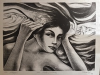 "Blanco Lopez #553. ""Rostros y ciudades,"" 1976. Lithograph print. 17 x 21.5 inches."