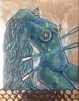 """Brito (Jacqueline Brito Jorge) #6823. From the series """"7 Mares,"""" N.D. Oil on canvas, encaustic. 11""""x 8.75"""""""