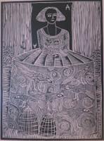 "Montebravo (José Garcia Montebravo) #4965C.  ""Infanta 1"", 2007. Linoleum print on pink paper. Edition print 29 of 33.    28 x 29 inches."