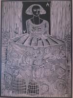 "Montebravo (José Garcia Montebravo) #4965B. ""Infanta 1"", 2007. Linoleum print on pink paper. Edition print 27 of 33.   28"" x 29 inches. SOLD!"