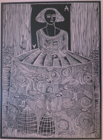 "Montebravo (José Garcia Montebravo) #4965A. ""Infanta 1"", 2007. Linoleum print on pink paper. Edition print 13 of 33.   28"" x 29 inches."