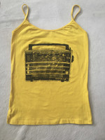 Fresko design #423G.  Radio on a bright yellow cotton summer tee. Size L (think M). Conga design shop, Havana.