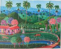 "Rubiceldys [R. Bernal] #6830. ""Finca Julio Mendez,"" 2017. Acrylic on canvas. 15.5"" x 19.5"""